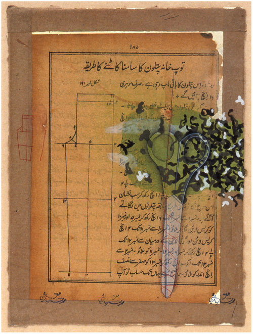 Imran Qureshi. How To Cut The Front Of An Artillery Pantaloon. Ink, gouache and cut and pasted paper on layered paper, 28.9 × 21 cm. Purchase, Robert B. and Emilie W. Betts Foundation Gift, 2013.