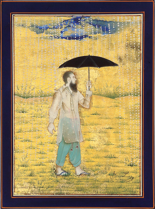 Imran Qureshi. Moderate Enlightenment. Ink, gouache, watercolour, and metallic paint on cardstock, 22 × 16 cm. Collection of Ali and Amna Naqvi.