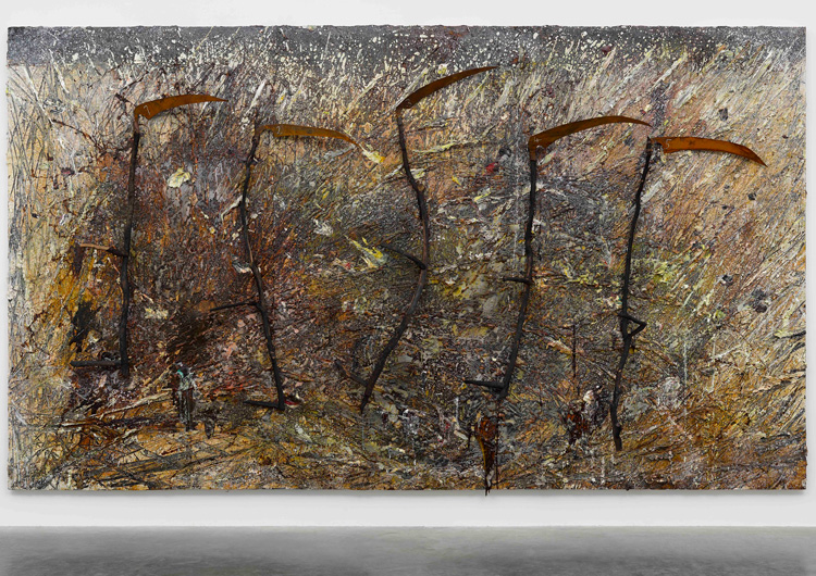 Anselm Kiefer, Vier plus Eins. Emulsion, oil, acrylic, shellac, wood, metal and chalk on canvas, 330 x 570 cm. © Anselm Kiefer. Photo © White Cube (Ollie Hammick).