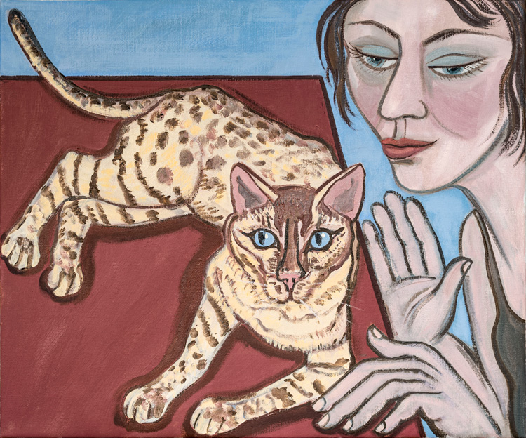 Eileen Cooper, Belong to Cats II. Oil on canvas, 51 x 61 cm. © Eileen Cooper RA. Photo: Malcolm Southward.