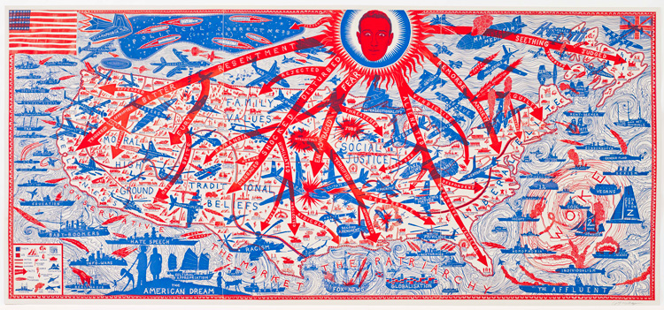 Grayson Perry, The American Dream. Etching, 109.6 x 239.8 cm. Grayson Perry & Paragon | Contemporary Editions Ltd, London. Photo: Stephen White & Co.