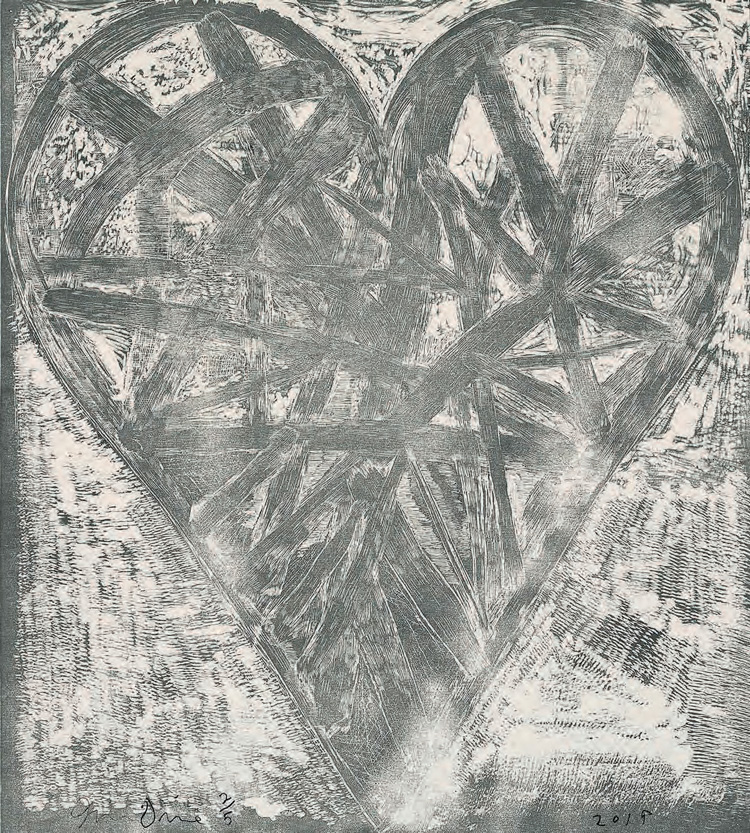 Jim Dine, The Blizzard. Woodcut in black and digital print with hand painting in gouache on two joined sheets of fabriano paper, 122 x 108.5 cm. © Courtesy Jim Dine and Cristea Roberts Gallery, London.