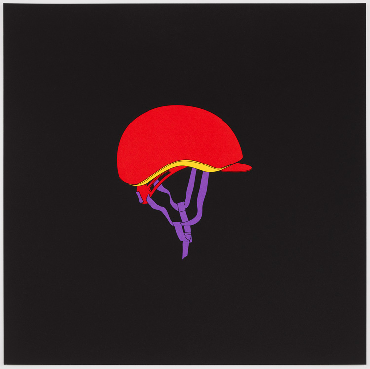 Michael Craig-Martin, Helmet. Screenprint on somerset satin (tub sized) 410gsm, 60 x 60 cm. © Courtesy Michael Craig-Martin and Cristea Roberts Gallery, London.