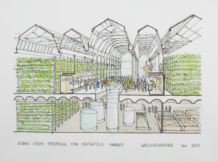 Chris Wilkinson, Urban Farm Proposal for Smithfield Market. Watercolour and graphite, 60 x 85 cm. © Wilkinson Eyre. Photo: Ben Bisek.
