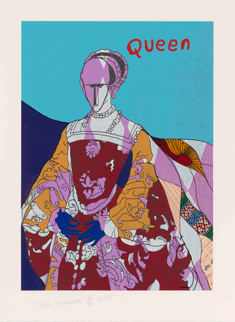Yinka Shonibare, Queen I. Relief print with woodblock and fabric collage on somerset tub sized satin 410gsm paper, 84 x 62 cm. © Courtesy Yinka Shonibare and Cristea Roberts Gallery, London.