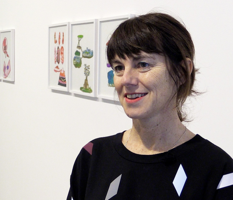 Christine Rebet talking to Studio International at the opening of Time Levitation, Parasol unit, London, January 2020. Photo: Martin Kennedy.