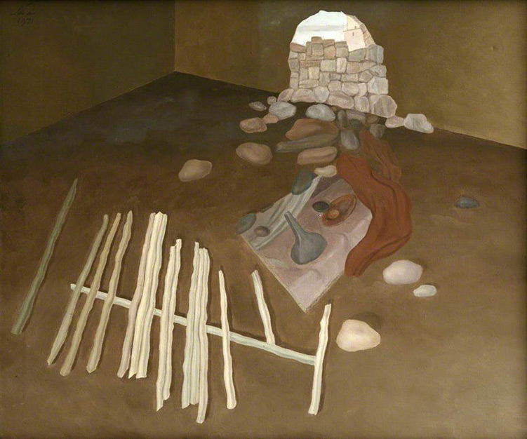 Albert Reuss. Interior II (Stones and Wood), 1971 or 1972. Oil on canvas, 63.5 x 76.2 cm. Collection of Newlyn Art Gallery.