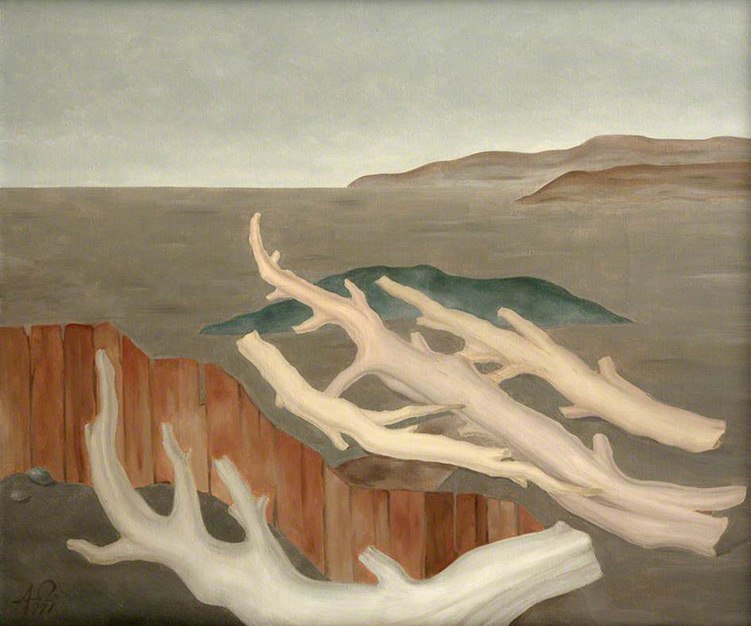 Albert Reuss. Fence with Stripped Tree Trunks, originally: Fence and Branches, 1971. Oil on canvas, 63.5 x 76.2 cm. Collection of Newlyn Art Gallery.