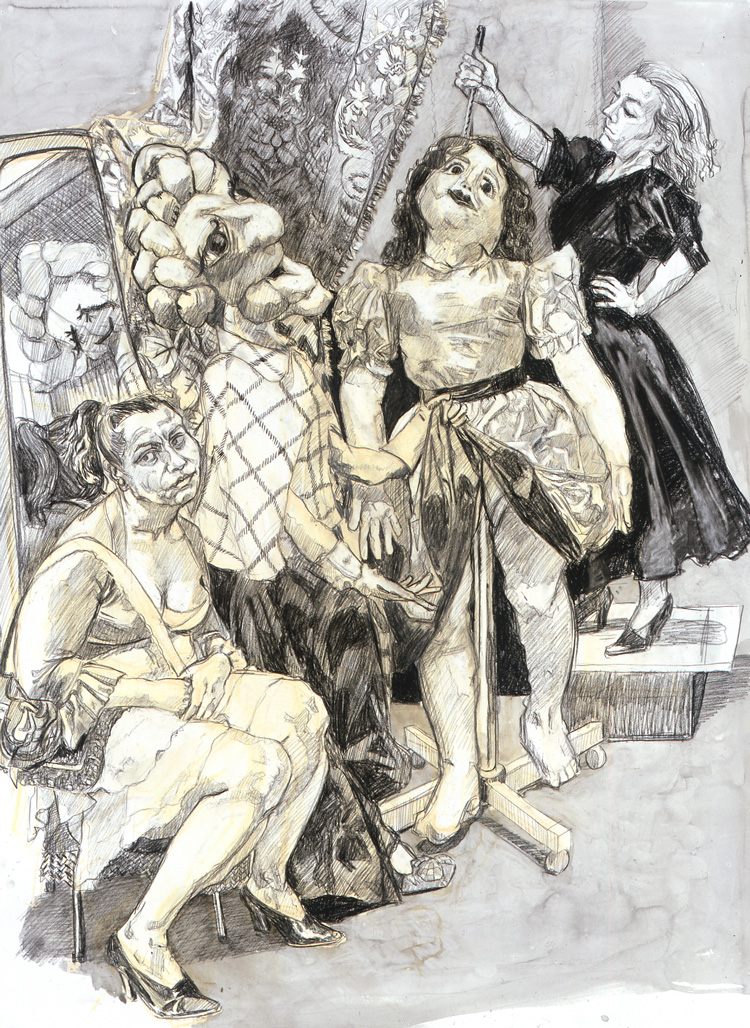 Paula Rego. Impailed, 2008. Conté pencil and ink wash on paper, 137 x 102 cm. Private collection. © Paula Rego, courtesy of Marlborough, 