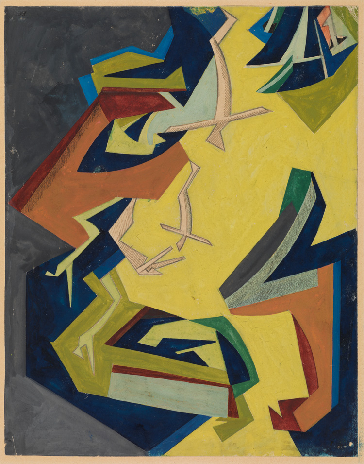 Helen Saunders. Vorticist Composition Yellow and Gree, c1915-16. Gouache on paper. The Samuel Courtauld Trust, The Courtauld Gallery, London © Estate of Helen Saunders.