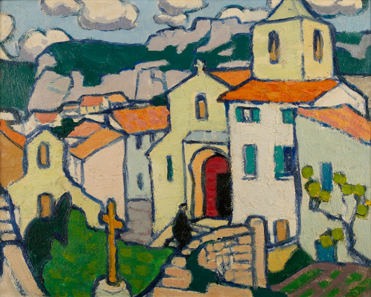 Jessica Dismorr. Les Baux, the Priest enters his Church, c1911. Oil on panel. Private collection.