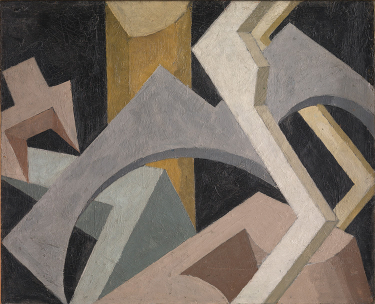 Jessica Dismorr. Abstract Composition, c1915. Oil paint on wood, 41.3 x 50.8 cm. Courtesy Tate, London.