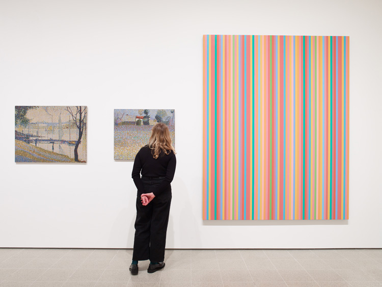 Bridget Riley, installation view,  Hayward Gallery 2019. © Bridget Riley 2019. Photo: Stephen White & Co.