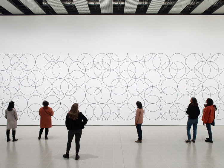 Installation view of Bridget Riley, Composition with Circles 4, 2004 at Hayward Gallery 2019. © Bridget Riley 2019 Photo: Stephen White & Co.