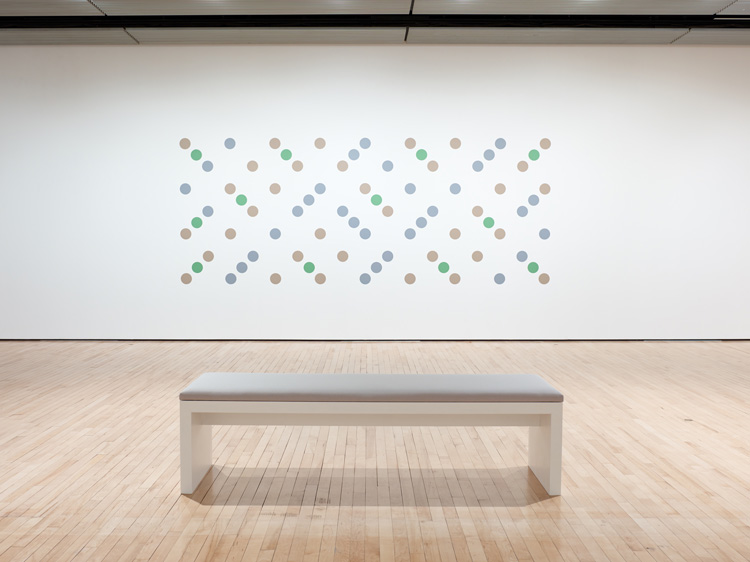 Bridget Riley, Untitled (Measure for Measure Wall Painting), 2017. Installation view, Hayward Gallery 2019. © Bridget Riley 2019. Photo: Stephen White & Co.