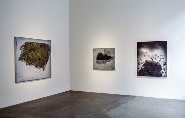 Barbara Takenaga: Manifold, installation view, Robischon Gallery 2019. Left to right: Flat Top, acrylic on linen, 60 x 70 in; Black Shape / Red Line, acrylic on linen, 36 x 42 in; Sidelong, acrylic on linen, 54 x 45 in. Image courtesy Robischon Gallery.