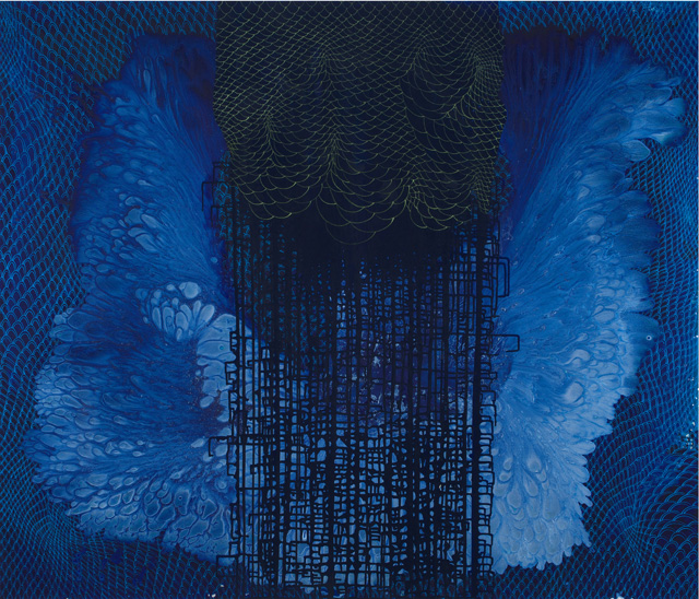 Barbara Takenaga. Blue (A). Acrylic on linen, 60 x 70 in. Image courtesy Robischon Gallery.