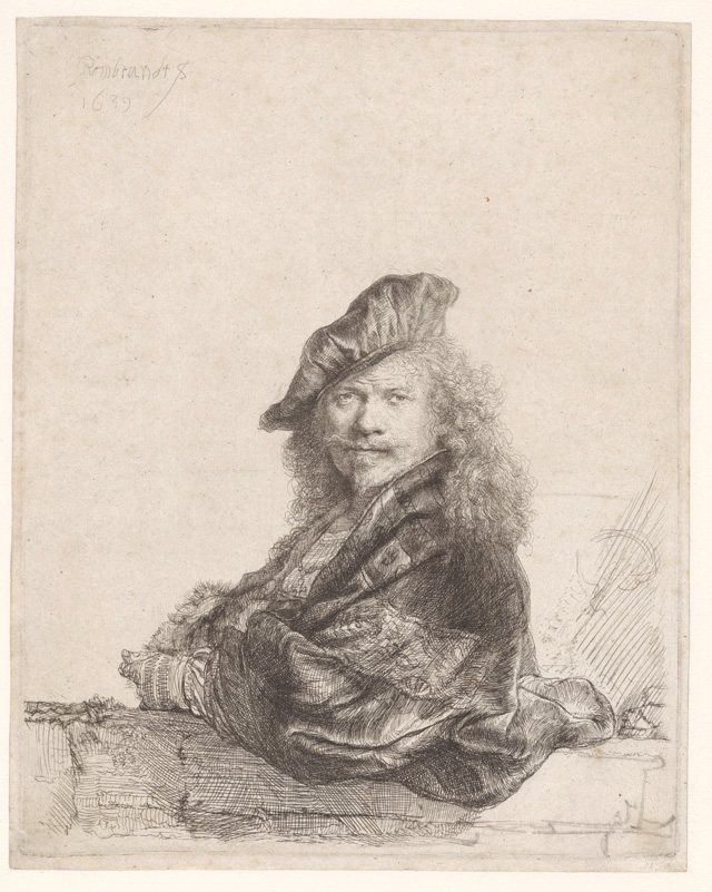 Rembrandt van Rijn, Self-portrait with the forearm leaning on a stone threshold, 1639. Rijksmuseum