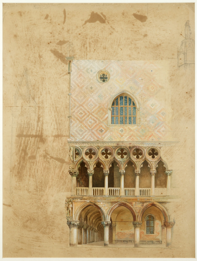 JW Bunney. South West Corner of the Doge's Palace, Venice, 1871. Watercolour, pencil and bodycolour on paper. © Collection of the Guild of St George / Museums Sheffield.