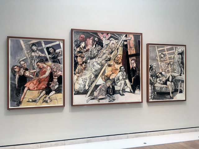 Paula Rego. Human Cargo (Triptych). Conté pencil, conté and ink wash on paper, 171 x 395 cm. Photograph: Veronica Simpson.