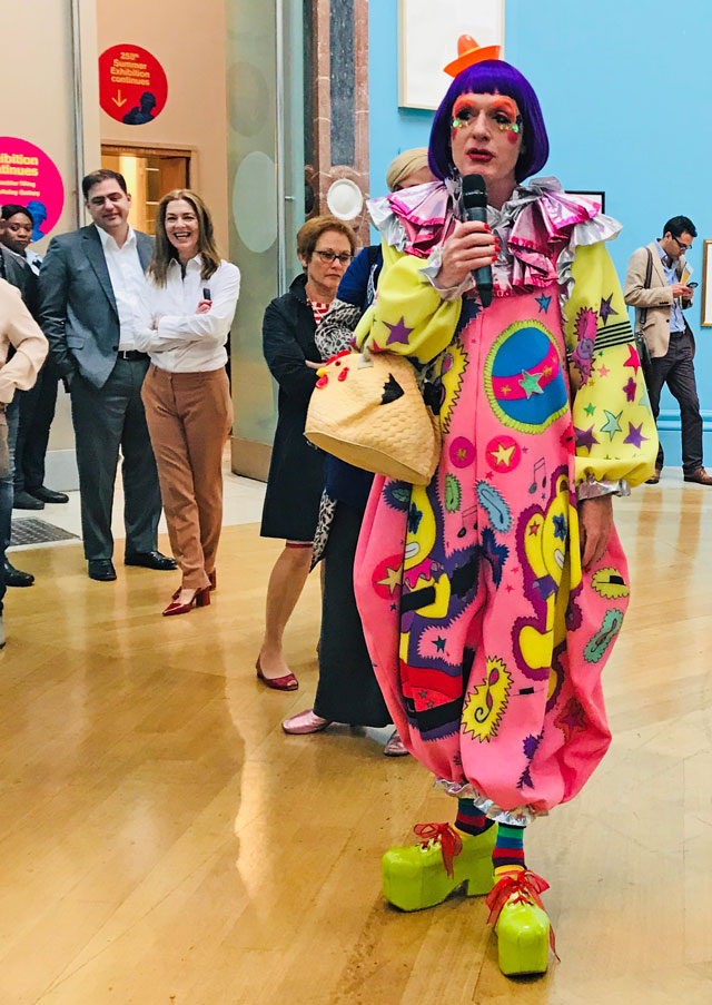 Grayson Perry speaking to the press at the opening of the Royal Academy of Arts 250th Summer Exhibition. Photograph: Martin Kennedy.
