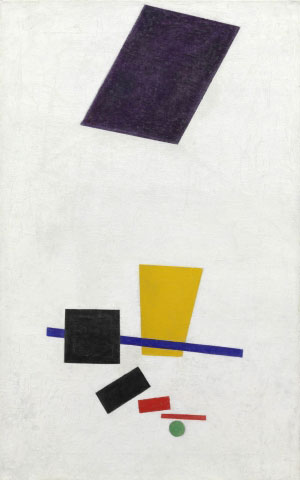 Kazimir Malevich. Painterly Realism of a Football Player—Color Masses in the 4th Dimension, 1915. The Art Institute of Chicago, through prior gifts of Charles H. and Mary F. S. Worcester Collection; Mrs. Albert D. Lasker in memory of her husband, Albert D. Lasker; and Mr. and Mrs. Lewis Larned Coburn Memorial Collection.