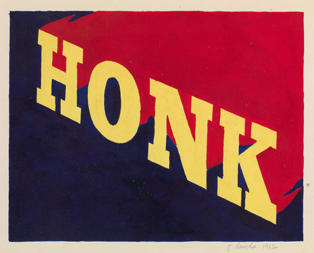 Ed Ruscha. HONK, 1962. Drawing, acrylic paint on paper, 27.9 x 35.2 cm. Collection: Scottish National Gallery of Modern Art. Artist Rooms National Galleries of Scotland and Tate. Acquired jointly through The d'Offay Donation with assistance from the National Heritage Memorial Fund and the Art Fund 2008. © Ed Ruscha.