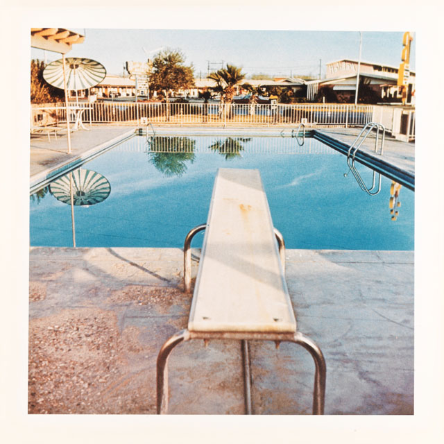 Ed Ruscha. Pool #2, 1968 / 1997. Colour photograph, 39.4 x 39.4 cm. Collection: Scottish National Gallery of Modern Art. Artist Rooms National Galleries of Scotland and Tate. Lent by the Artist Rooms Foundation 2011. © Ed Ruscha.