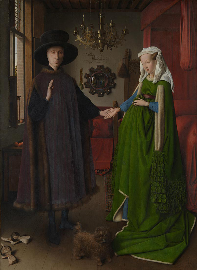 Jan van Eyck. Portrait of Giovanni di Nicolao Arnolfini and his Wife – The Arnolfini Portrait, 1434. Oil on oak, 82.2 x 60 cm. National Gallery, London. © The National Gallery, London.