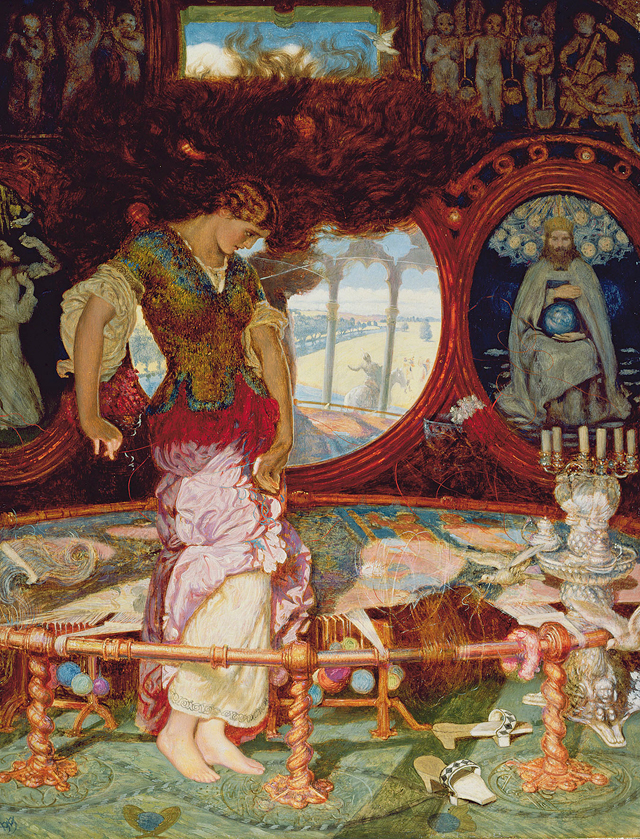 William Holman Hunt. The Lady of Shalott, c1886-1905. Oil on wood, 44.4 x 34.1 cm. Manchester Art Gallery. © Manchester City Galleries/Bridgeman Images.