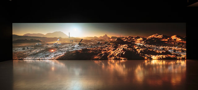 Kelly Richardson. Mariner 9, 2012. 3-channel HD video installation with audio. Photograph: Ruth Clark.