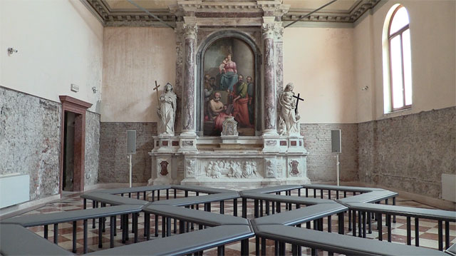 James Richards: Music for the gift – Wales in Venice, 2017. The chapel of Santa Maria Ausiliatrice. Photograph: Martin Kennedy.