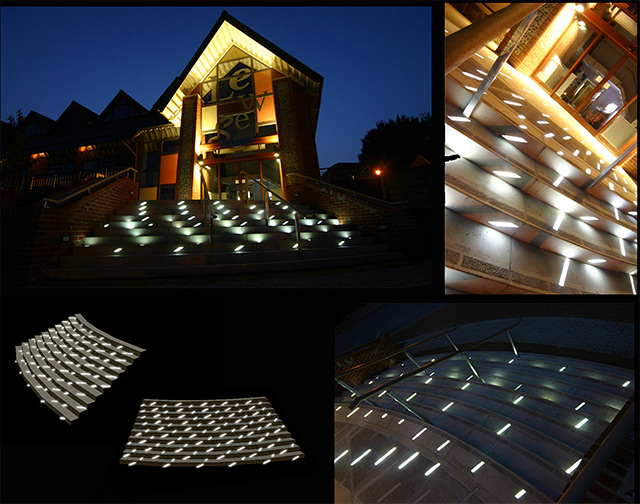 Esther Rolinson. Align, 2006. Public artwork. Animated LED channels,  approximate space 4 x 6 m. Lewes Library.