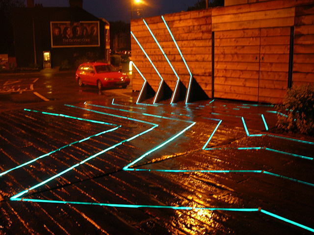 Esther Rolinson. Trace Elements, 2004. Public artwork,. Animated LED channels. Electric Wharf, Coventry. Approximate space 14 x 9 m.