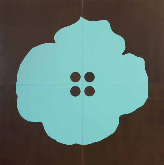 Donald Sultan. Aqua Button Flower June 30 2015. Enamel on Masonite, 244 x 244 cm. © Donald Sultan, Courtesy of Galerie Andres Thalmann and Waqas Wajahat, New York.
