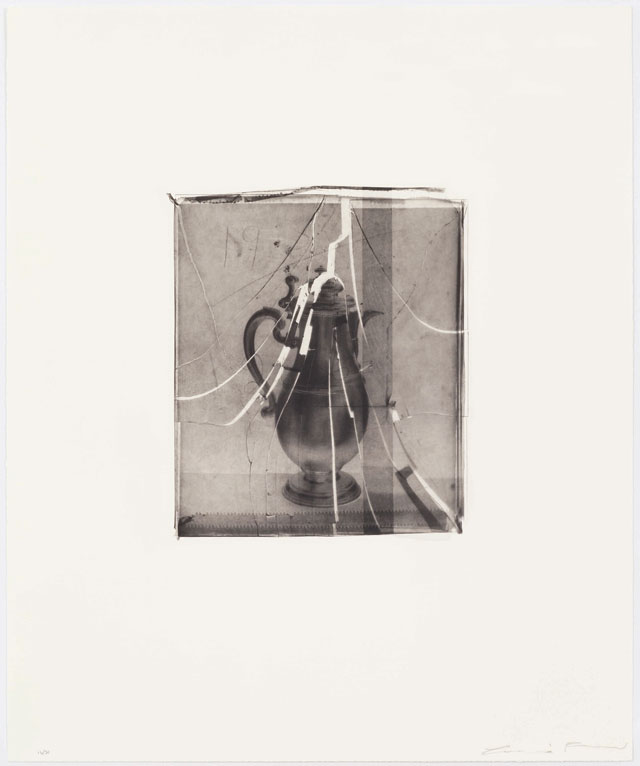 Cornelia Parker. Coffee Pot Hit with a Monkey Wrench. Polymer photogravure etching, 74 x 62 cm. Photograph courtesy of the artist and Alan Cristea Gallery.
