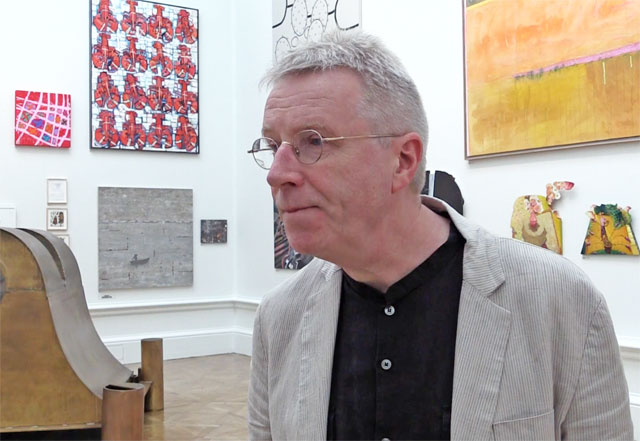Hughie O'Donoghue talking to Studio International about the process of hanging the Royal Academy Summer Exhibition 2014. Photo: Martin Kennedy.