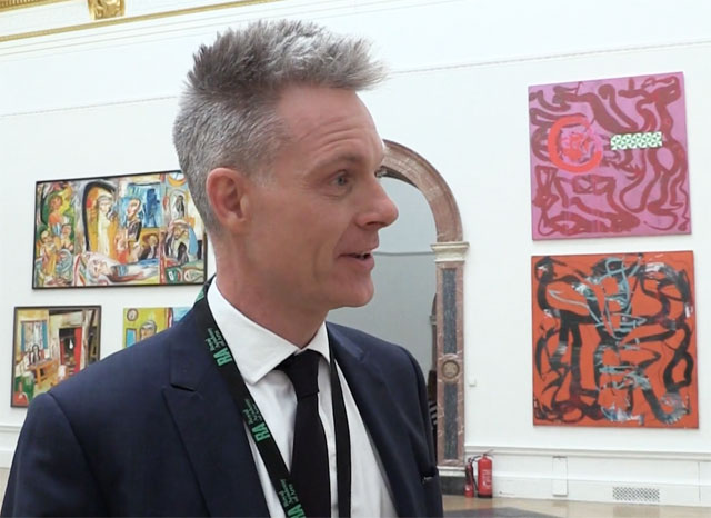 Royal Academy artistic director, Tim Marlow, speaking to Studio International about his role and future plans for the Academy at the opening of the Royal Academy Summer Exhibition 2014. Photo: Martin Kennedy.