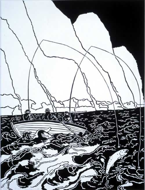 Bill Woodrow RA, <i>North Shore Beat</i>, Lock Maree. Linocut 40 x 30 