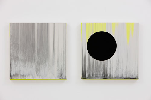 Rachel Howard. <em>Sisters,</em> 2011. Oil, household gloss and acrylic on canvas on board, Diptych - both: 15 x 15 in (38.1 x 38.1 cm). Image courtesy of the artist and Blain|Southern. Photograph by Peter Mallett.