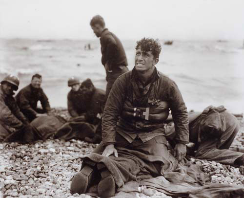 Walter Rosenblum. <em>D-Day Rescue, Omaha Beach</em>, 1944. Gelatin silver print. Columbus Museum of Art, Ohio, Photo League Collection, Museum Purchase with funds provided by Elizabeth M. Ross, the Derby Fund, John S. and Catherine Chapin Kobacker, and the Friends of the Photo League. © Estate of Walter Rosenblum.