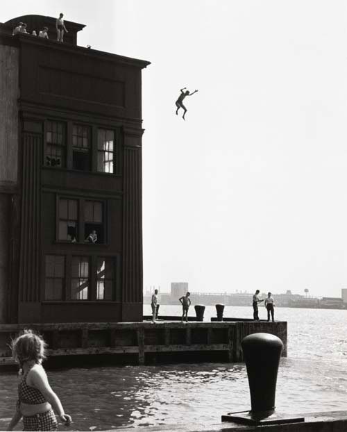 Ruth Orkin. <em>Boy Jumping into Hudson River</em>, 1948. Gelatin silver print. The Jewish Museum, New York, Purchase: Horace W. Goldsmith Foundation Fund. © Estate of Ruth Orkin.