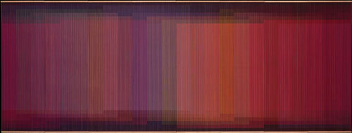 Carlos Cruz-Diez. Physichromie No. 500, 1970. Casein paint on PVC and acrylic on plywood sheets, 183 x 484 x 8 cm. Coleccíon Patricia Phelps de Cisneros. © ADAGP, Paris and DACS, London 2014.
