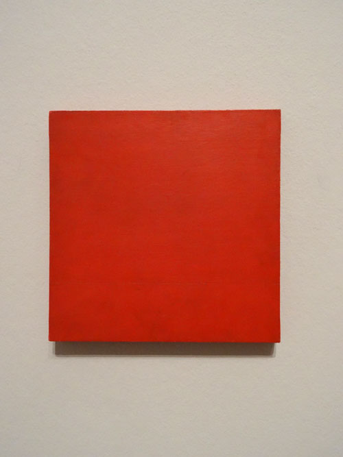 Helio Oiticica. Red Monochrome, c1959. Oil on plywood. Photograph: Miguel Benavides.