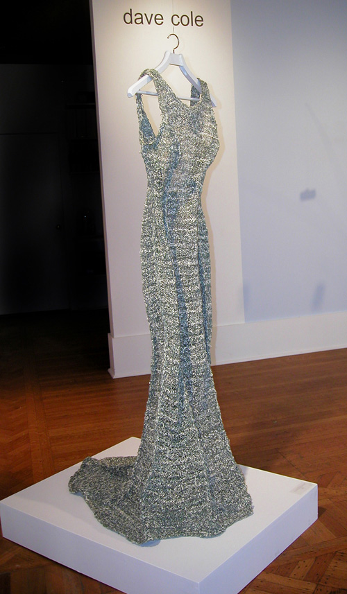 Dave Cole, <em>The Money Dress</em>, 2006. 879 U.S. dollar bills, hand-cut to 1/8-inch width and knitted to 'size 8'. Courtesy Judi Rotenberg Gallery, Boston