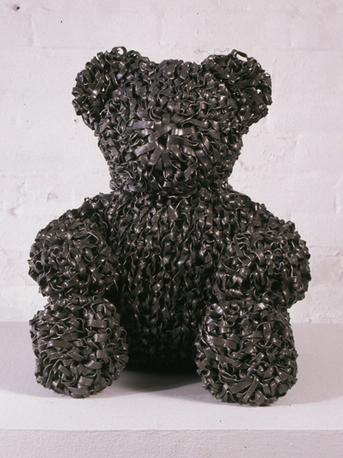 Dave Cole, <em>Knit Lead Teddy Bear</em>, 2006. Lead ribbon, hand-cut and knitted over armature of lead wool. Courtesy Judi Rotenberg Gallery, Boston