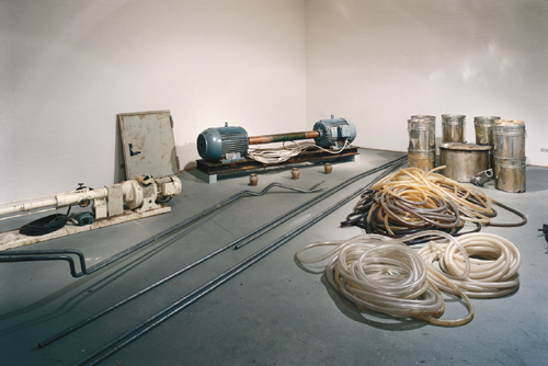 Joseph Beuys.        <em>Honey Pump at the Workplace (Honigpumpe am Arbeitsplatz)</em>, 1977. 