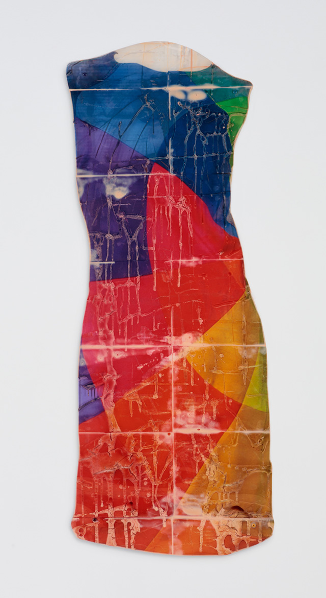 Sara Greenberger Rafferty. Dress, 2016. Acrylic polymer and inkjet prints on acetate on Plexiglass, and hardware, 50 x 18 x 1/2 in (127 x 45.7 x 1.3 cm) irregular.