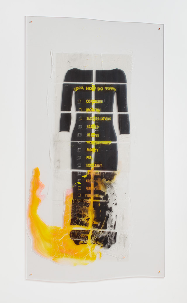Sara Greenberger Rafferty. Y2K Moschino Dress, 2016. Acrylic polymer and inkjet prints on acetate on Plexiglas, and hardware, 76 1/2 x 40 x 1/2 in (194.3 x 101.6 x 1.3 cm) irregular.