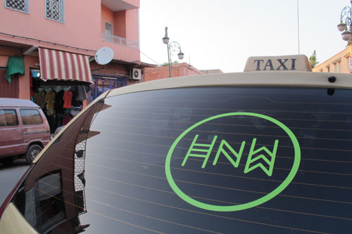 Anna Raimondo. Here. Now. Where?, created with artistic partner Younes Baba-Ali for the fifth Marrakech Biennale. The project involves hailing a taxi to take a journey through a menu of curated soundscapes. Image 5.